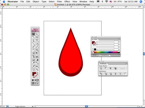 Hvordan lage en dråpe blod i Adobe Illustrator