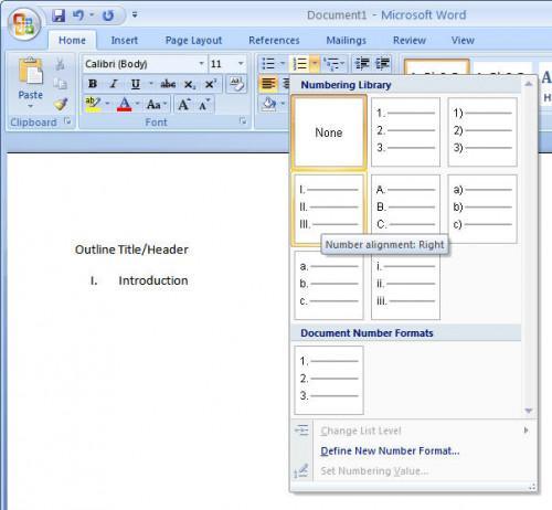 Hvordan lage en disposisjon i Microsoft Word 2007